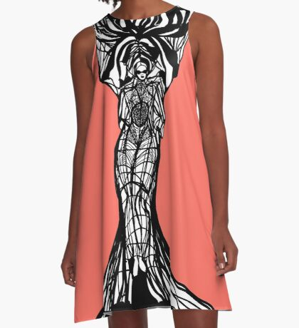 The woman within in living coral A-Line Dress