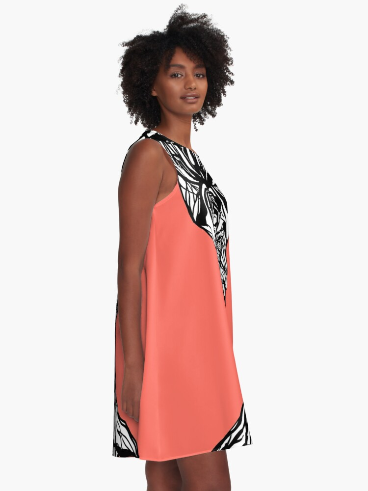 Alternate view of The woman within in living coral A-Line Dress