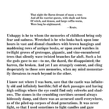 The Outsider H.P. Lovecraft First Page by buythebook86