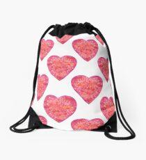 Valentine's Day Red Hearts pattern Drawstring Bag