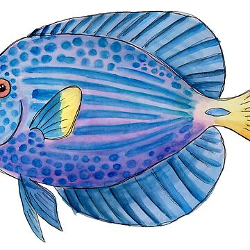 Purple Tang in Watercolor by narwhalwall