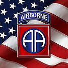 82nd Airborne Division - 82 ABN Insignia over American Flag  by Serge Averbukh