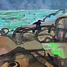 Rockpool and Oystercatcher by donna malone