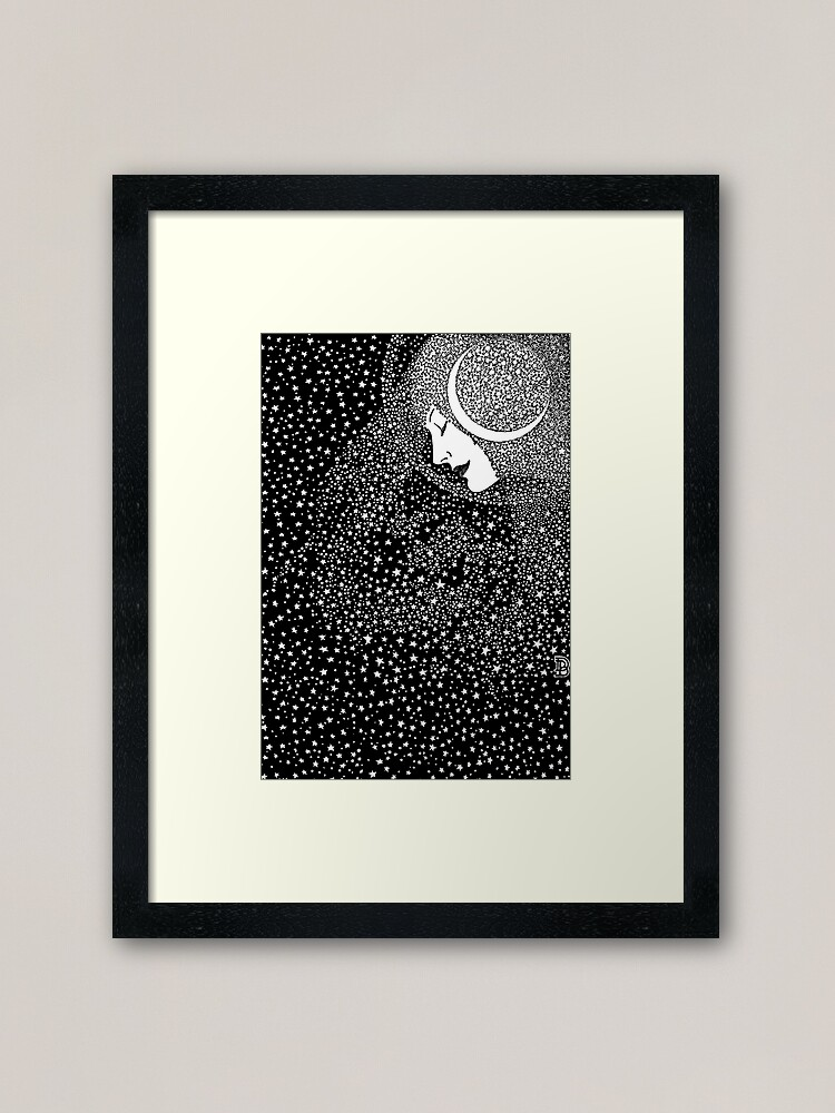 Alternate view of Lady of the Night - white Framed Art Print