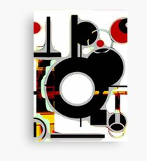 Black, red, white circles abstract modern Canvas Print