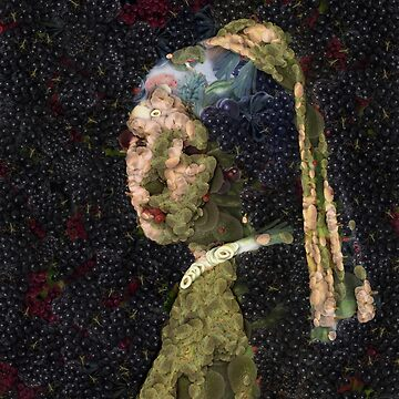 Girl With A Strawberry Earring Vegetable Decoupage by taiche