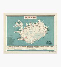 Map of Iceland (circa 1958) Photographic Print