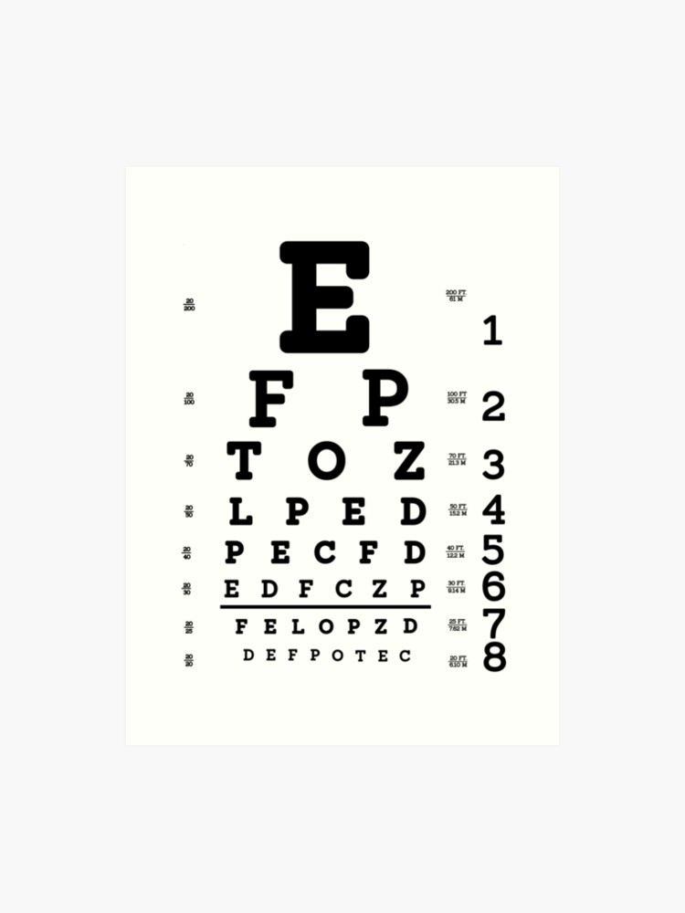 picture regarding Eye Chart Printable titled Snellen Eye Chart Artwork Print
