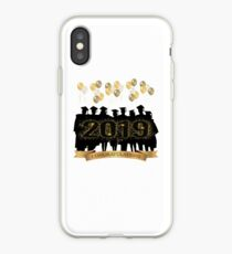 CONGRATULATIONS CLASS OF 2019 SILHOUETTE GRADUATES WITH GOLD AND WHITE BALLOONS iPhone Case
