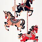 Karussellpferde - rote & schwarze Palette von Cat Coquillette