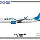 Airbus A220-300 - Air Tanzania (Art Print) by TheArtofFlying