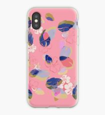 Coral Flowers and Blue Leaves iPhone Case