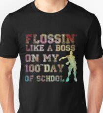 542aa25b flossin like a boss on my 100 day of school Slim Fit T-Shirt