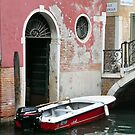 Pink Wall & Red Boat by Karen E Camilleri