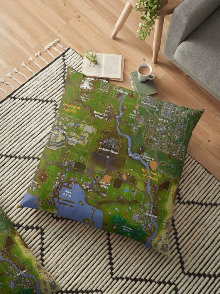 \'Runescape World Map\' Floor Pillow by Spider-Mayne