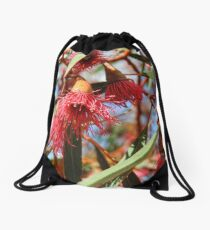 Flowers of a Red Flowering Gum Drawstring Bag