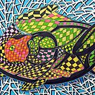 294 - ABSTRACT FISH DESIGN - DAVE EDWARDS - INK AND COLOURED PENCILS - 2010 by BLYTHART