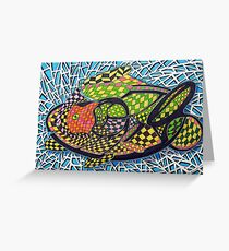 294 - ABSTRACT FISH DESIGN - DAVE EDWARDS - INK AND COLOURED PENCILS - 2010 Greeting Card