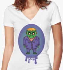 Zombie comic francs Halloween Women's Fitted V-Neck T-Shirt