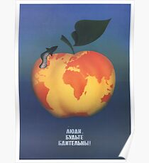 """""""Die Leute seien wachsam!"""" Sowjetisches Plakat gegen den Atomkrieg, 1970er Jahre Poster"""