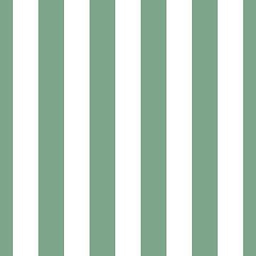 Sage Green & White Vertical Cabana Tent Stripes by podartist
