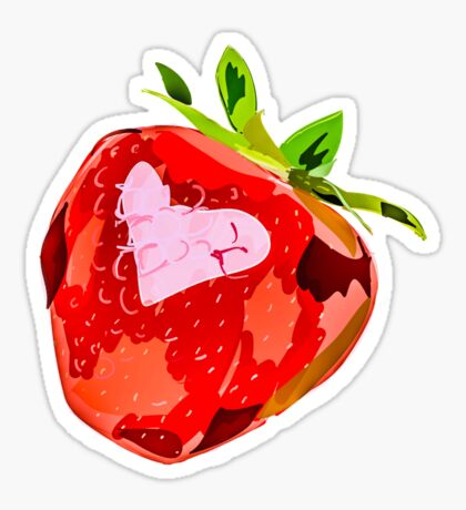 Strawberry Heart Digital Painting Sticker