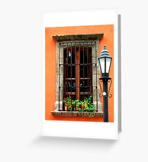 Window with geraniums -San Miguel de Allende Greeting Card