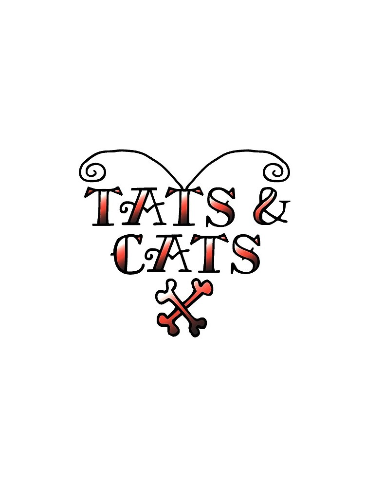 Love Tats & Cats Tattooed Cat Lovers Illustration (Black/Red) by MCGraphics