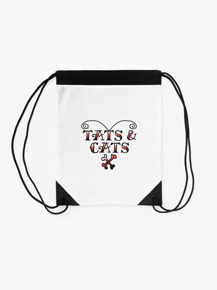 Alternate view of Love Tats & Cats Tattooed Cat Lovers Illustration (Black/Red) Drawstring Bag