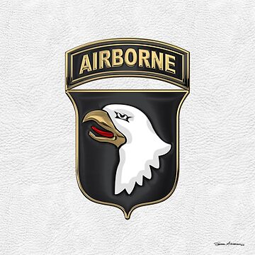 101st Airborne Division - 101st  A B N  Insignia over White Leather by Captain7