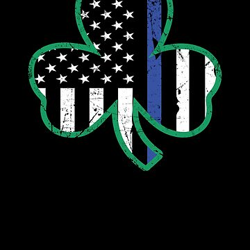 Police Officer St Patricks Day Thin Blue Line Clover Apparel by CustUmmMerch
