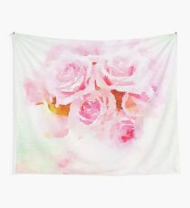 Water color painting,pink roses Wall Tapestry