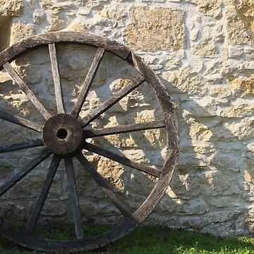Wagon Wheel and Stone Wall by rhamm