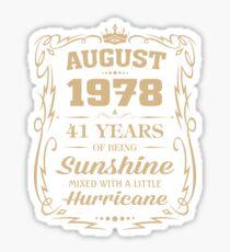 August 1978 Sunshine Mixed With A Little Hurricane Sticker