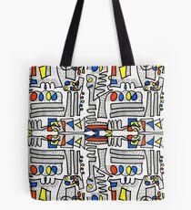 Mondrian Doodle - White Tote Bag