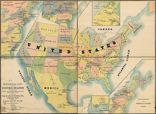 Historical Military Map Of The United States 1890 Poster By - Map-of-the-us-in-1890