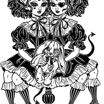 Gothic Victorian twin siamese demonic girls with voodoo stuffed toy and imp horns.  by KatjaGerasimova