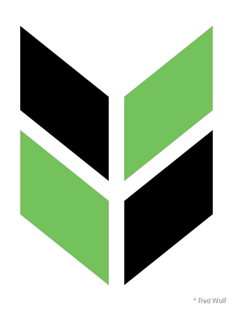 Geometric Pattern: Chevron: Black/Green by * Red Wolf