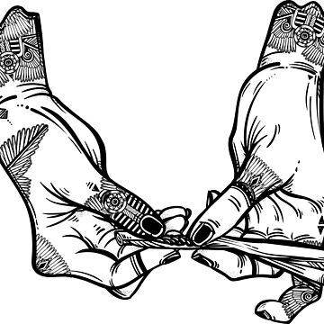 Tattooed hands rolling a cigarette or a joint with rolling tobacco or cannabis.  by KatjaGerasimova