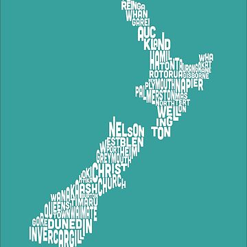 New Zealand Typography Text Map by ArtPrints