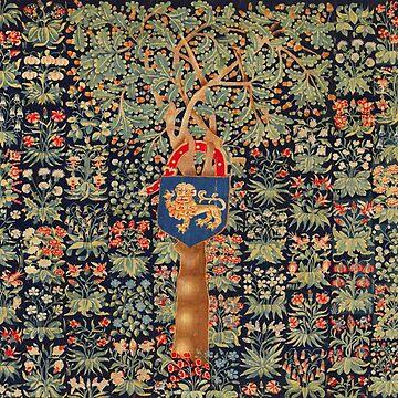 ANTIQUE MILLEFLEURS TAPESTRY,OAK TREE,ACORNS, LION HERALDIC SYMBOL,RED GREEN BLUE FLORAL by BulganLumini
