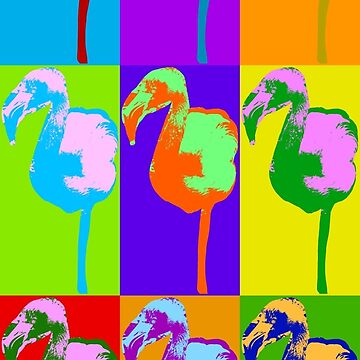 Poster with flamingo in pop art style by anytka