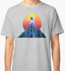 Synthwave Wire Frame Mountain Classic T-Shirt