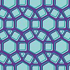 Swollen Shapes - Geometric Pattern (Purple and Turquoise) by mariomartin