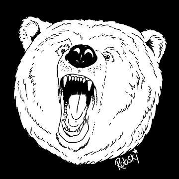 Bear Growl - whiteout by RobskiArt