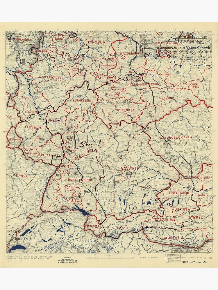 World War II Twelfth Army Group Situation Map July 2 1945 | Poster