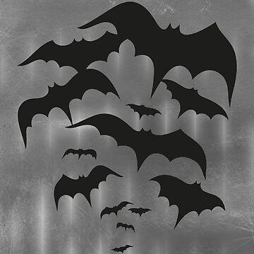 Fledermäuse, Fledermausschwarm. Halloween Bats. von ChristineKrahl