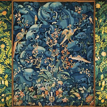 FANTASTIC BIRDS ,FLOWERS AND CABBAGE LEAVES ,Blue Pink Green Antique Floral Tapestry by BulganLumini