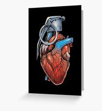 Heart Grenade Greeting Card