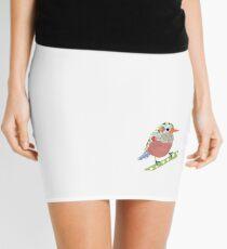 Collage style bird. Patchwork Sparrow illustration Mini Skirt